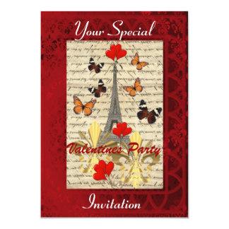 Paris and butterflies Valentines party 13 Cm X 18 Cm Invitation Card
