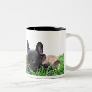 Paris and Monaco in the grass Two-Tone Coffee Mug