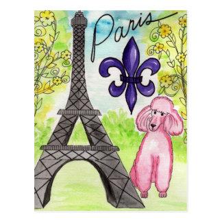 Paris and the Poodle Postcard