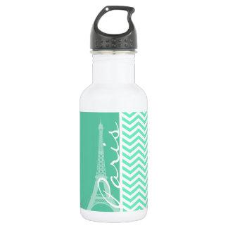 Paris; Aquamarine Chevron 532 Ml Water Bottle
