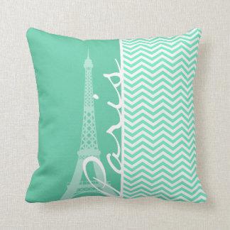 Paris; Aquamarine Chevron Throw Pillow