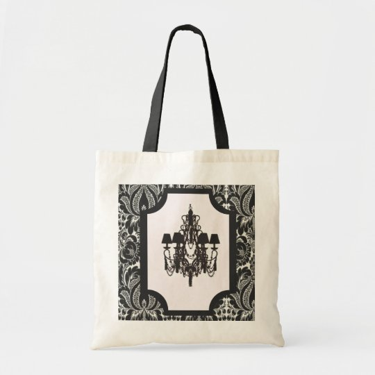 Paris art deco damask vintage black chandelier tote