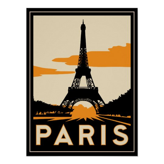 Art Deco Posters: Paris Art Deco Retro Poster