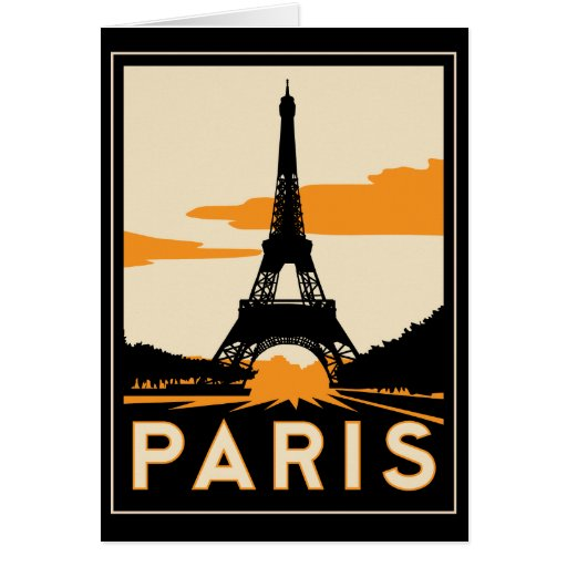 Paris art deco retro travel poster greeting cards zazzle - Boutique art deco paris ...