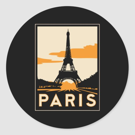 paris art deco retro travel poster sticker
