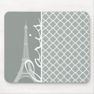 Paris; Ash Gray Moroccan Quatrefoil Mousepads