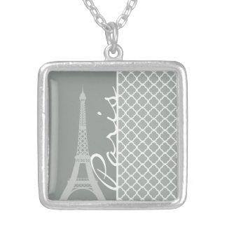 Paris; Ash Gray Moroccan Quatrefoil Square Pendant Necklace