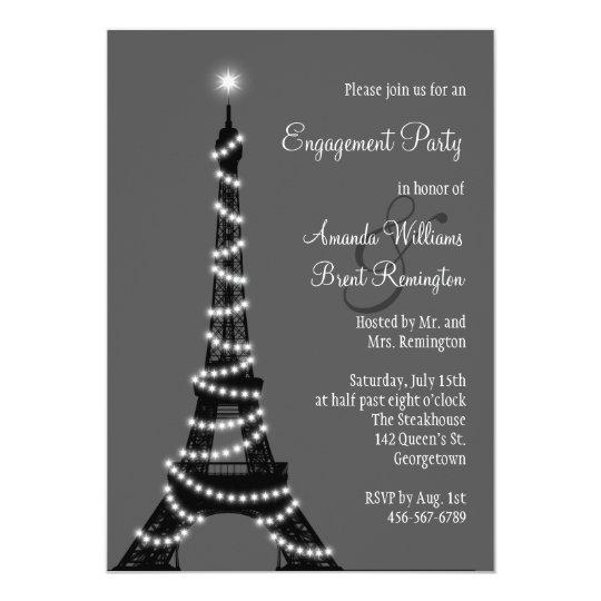 Paris at Night Engagement Party Invitation