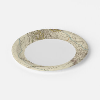 Paris atlas map paper plate