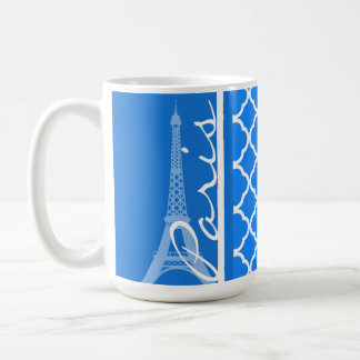 Paris; Azure Blue Quatrefoil Basic White Mug