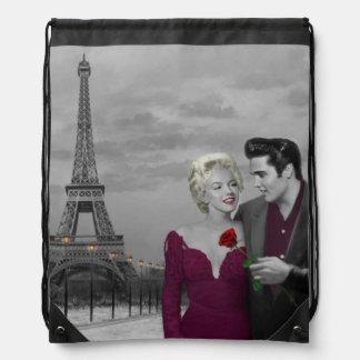Paris B&W 2 Drawstring Bag