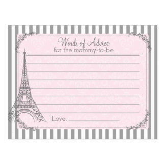 Paris Baby Shower Advice card for the mom to be Postcard