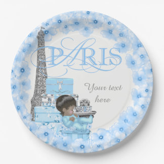 Paris Baby Shower Paper Plates Ethnic Boy Baby