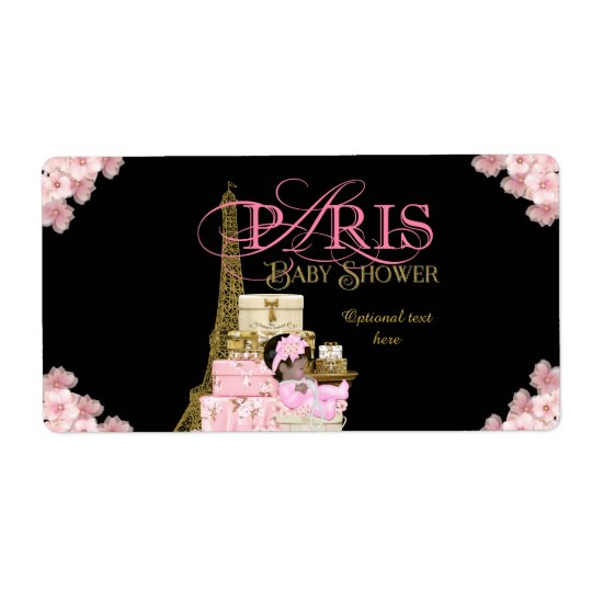 Paris Baby Shower Water Bottle Labels