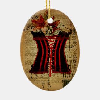 Paris Bachelorette Party vintage corset Christmas Ornament