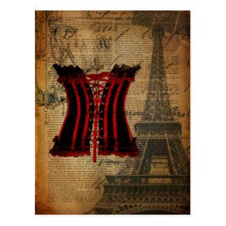 Paris Bachelorette Party vintage corset Postcard