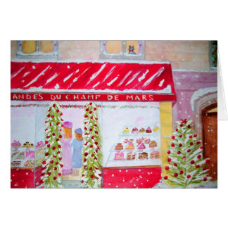 Paris Bakery Christmas Card Watercolor