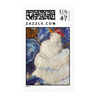 Paris' Baseball Snowman Postage Stamp