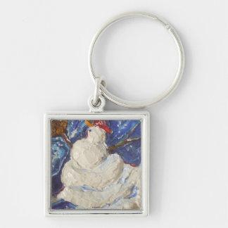 Paris' Baseball Snowman Silver-Colored Square Key Ring