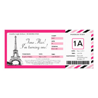 Paris Birthday Boarding Pass Ticket Personalized Invitations