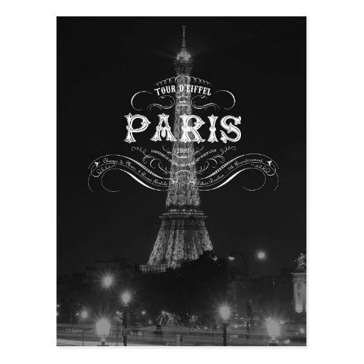 Paris Black and White Travel Postcard Eiffel Tower