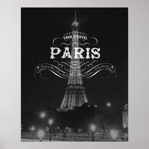 Paris Black and White Travel Poster Eiffel Tower