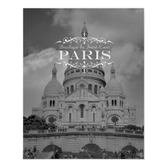 Paris Black and White Travel Poster: Sacre Coeur Poster