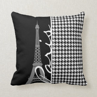 Paris; Black & White Houndstooth Cushion