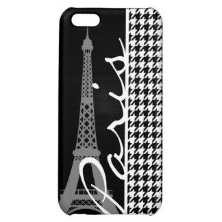 Paris; Black & White Houndstooth Case For iPhone 5C