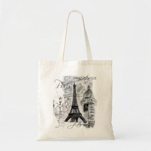 Paris Black & White Street Scene with Eiffel Tower Tote Bags