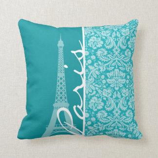 Paris; Blue-Green Damask Pattern Cushion