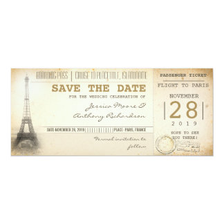Paris boarding pass tickets for save the date personalized invites
