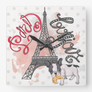 Paris Bonjour Square Wall Clock