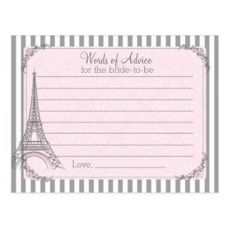 Paris Bridal Shower Advice card for the bride Postcard