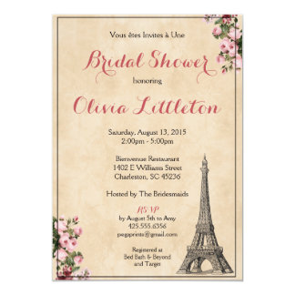 Paris Bridal Shower Invitation - Pink Floral