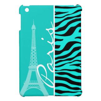 Paris; Bright Turquoise Zebra Animal Print Case For The iPad Mini