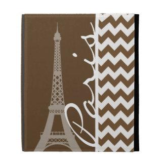 Paris; Brown Chevron iPad Folio Covers