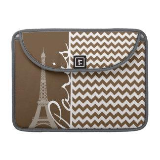 Paris; Brown Chevron Sleeve For MacBook Pro