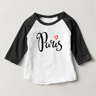 Paris Brush Lettering With Heart Baby T-Shirt