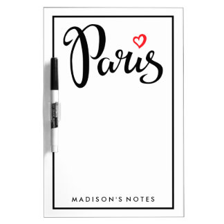 Paris Brush Lettering With Heart Dry-Erase Board