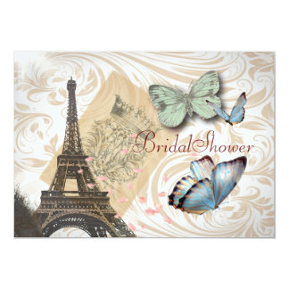 Paris Butterfly elegant  Vintage Bridal Shower 13 Cm X 18 Cm Invitation Card
