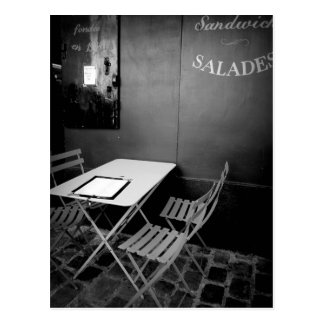Paris cafe table and chairs postcard