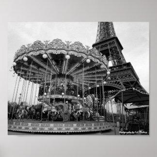 Paris Carousel B&W Poster
