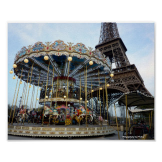 Paris Carousel (& Eiffel Tower) Poster