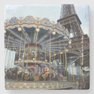 Paris Carousel (& Eiffel Tower) Stone Beverage Coaster