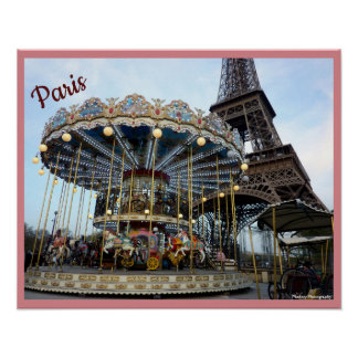 Paris Carousel (& Eiffel Tower) with text Poster