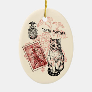 Paris Cat Christmas Ornament