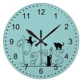 Paris Cats Large Clock