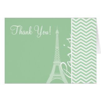 Paris; Celadon Chevron Note Card