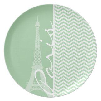 Paris; Celadon Chevron Plates